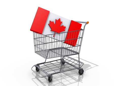 A Grocery shopping cart with a Canadian Flag on a white background