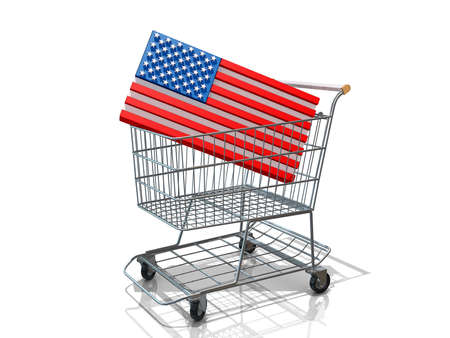 A Grocery shopping cart with a United States of America Flag on a white background. Stock Photo - 16664944