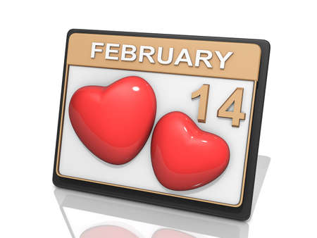 almanac: A Calendar showing Febuary 14 and two hearts Stock Photo