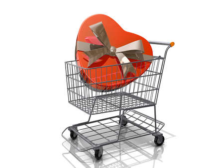 A Grocery shopping cart with a heart shaped box with a bow on a white background. Stock Photo