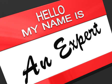 Hello My Name is An Expert on a name tag  Stock Photo - 16741692