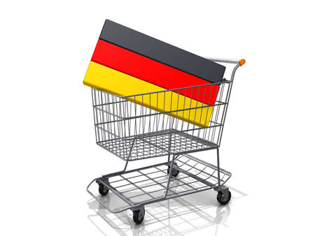 A Grocery shopping cart with a Germany Flag on a white background. Stock Photo - 16822564