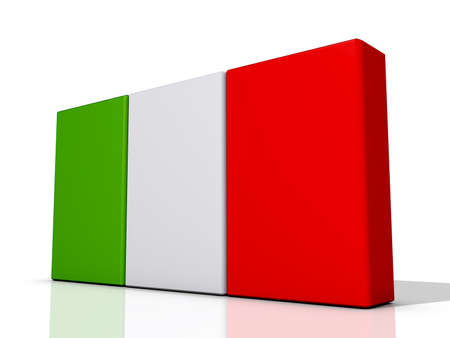 Italy Flag on a shiny white background  Stock Photo - 16895079