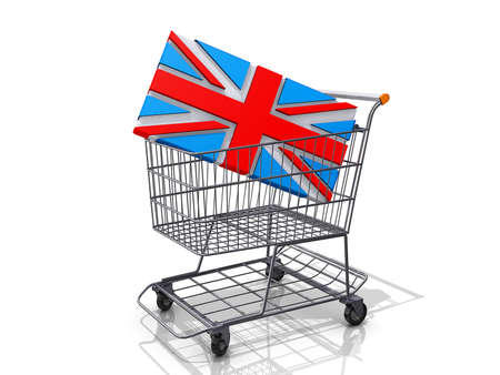 A Grocery shopping cart with a United Kingdom Flag on a white background  Stock Photo - 16895088