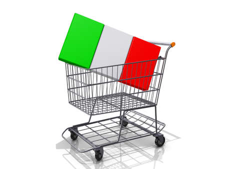 A Grocery shopping cart with a Germany Flag on a white background  Stock Photo - 16895087