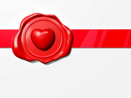 Valentine's Wax Seal icon on white background on a Ribbon. Stock Photo - 16895089