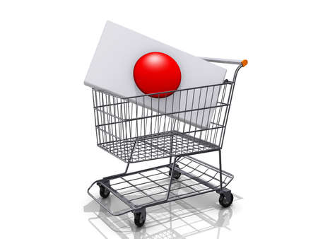 A Grocery shopping cart with a Japan Flag on a white background