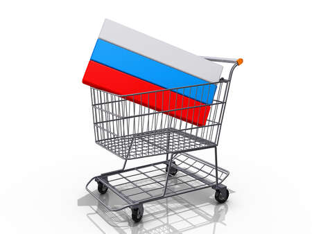 A Grocery shopping cart with a Russia Flag on a white background Stock Photo - 17081093