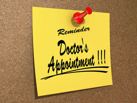 A note pinned to a cork board with the text Reminder Doctor Stock Photo
