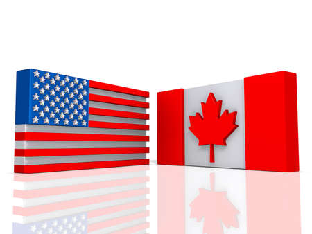 Canada and United States of America Flags on a shiny white background  Stock Photo