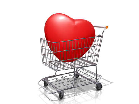 A Grocery shopping cart with a Heart on a white background. Stock Photo - 17169781