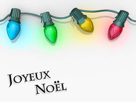 Christmas lights strong along the top of the image with Joyeux Noel below. Stock Photo - 17169779