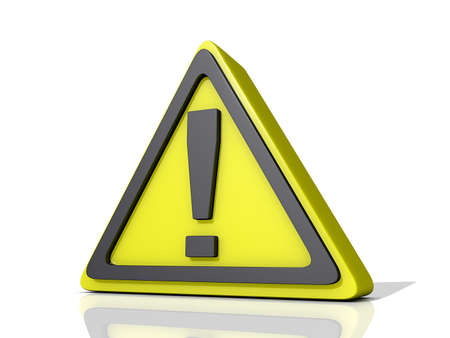 Caution Icon on a shiny white Background.