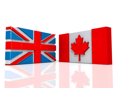 Canada and United Kingdom Flags on a shiny white background.