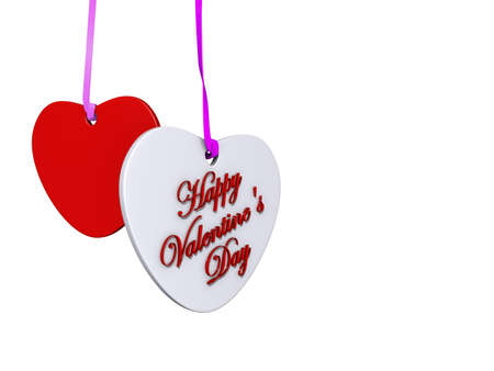 Two hearts card with Happy Valentine's Day on it with a white background. Stock Photo - 17299273