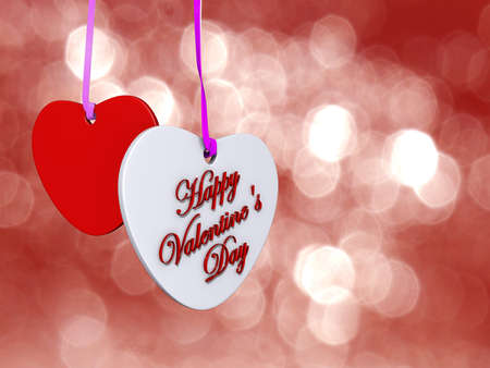 Two hearts card with Happy Valentine's Day on it with a bokeh efect background. Stock Photo - 17299321