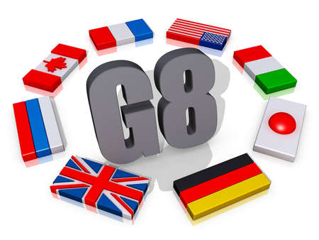 The text G8 encircled by the member flags. Stock Photo