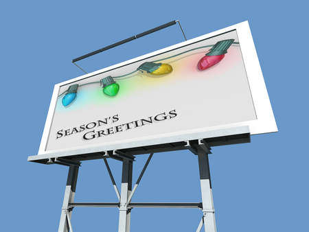 A Billboard with Christmas lights strong along the top of the image with the text Season