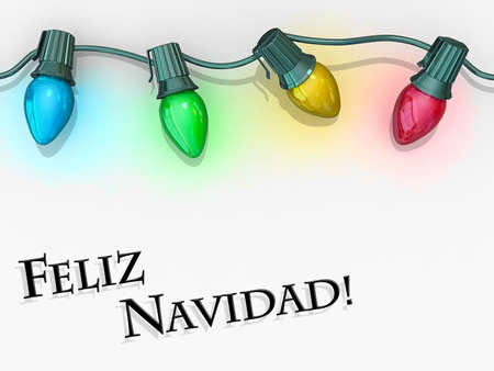 Christmas lights strong along the top of the image with Merry Christmas - Spanish Language below. Stock Photo