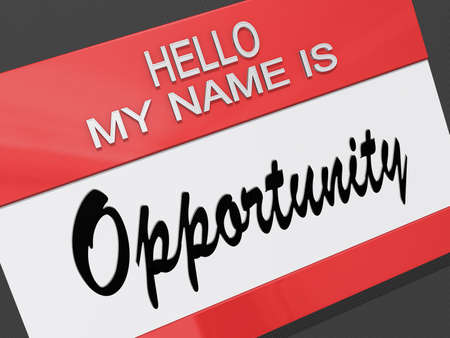 Hello My Name is Opportunity on a name tag. Stock Photo - 17421708