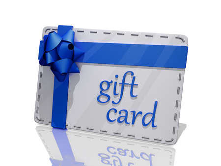 A white gift card with a blue bow on a shiny background. Stock Photo - 17421705