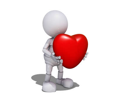 3d Human Character with Valentine's Heart Stock Photo - 17421703