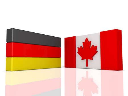 Canada and Germany Flags on a shiny white background. Stock Photo - 17421717
