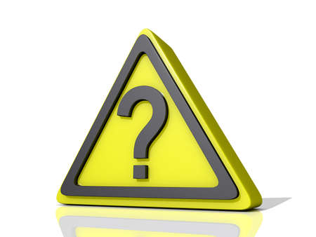Question Mark Caution Icon on a shiny white Background.