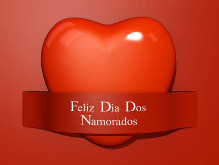 A Heart with a paper cut out with the text Happy Valentines Day In Portuguese. photo