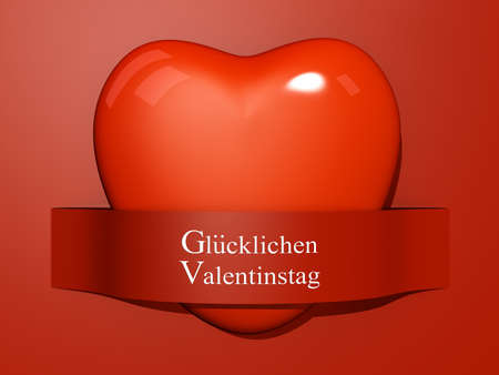 A Heart with a paper cut out with the text Happy Valentine's Day In German. Stock Photo - 17572044