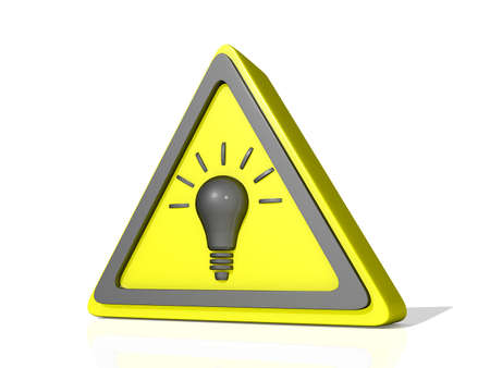 Caution Idea Icon on a shiny white Background Stock Photo - 17572058