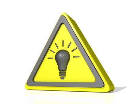 Voorzichtigheid Idea pictogram op een glanzend witte achtergrond Stockfoto