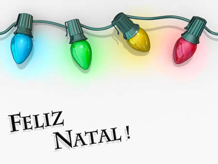Christmas lights strong along the top of the image with Merry Christmas - Portuguese Language below Stock Photo - 17560484