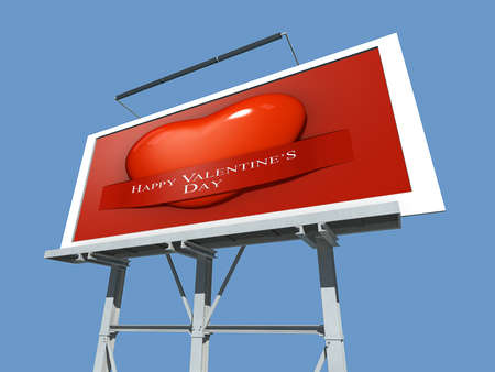 A Billboard with Valentine's Paper Cut Out. Stock Photo - 17572061