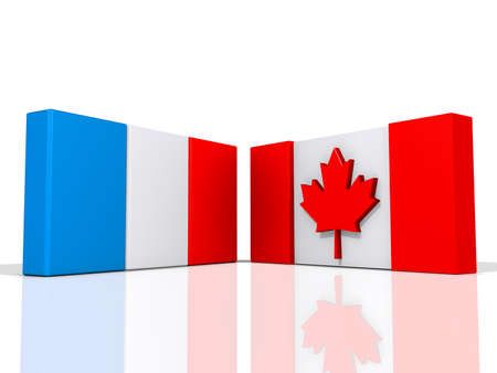 Canada and France Flags on a shiny white background. Stock Photo - 17572056