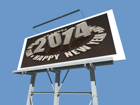 A Billboard with 2014 Happy new Year. Stock Photo - 17572070