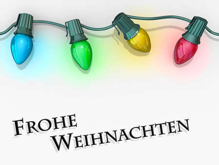 Christmas lights strong along the top of the image with Merry Christmas - German Language below. Stock Photo