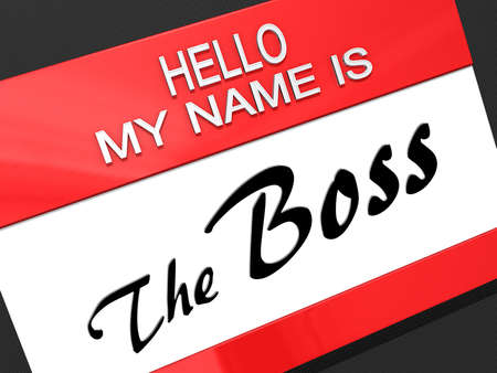 Hello My Name is The Boss on a name tag. Stock Photo - 17572078