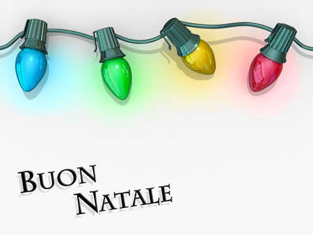 Christmas lights strong along the top of the image with Merry Christmas - Italian Language below. Stock Photo - 17572087