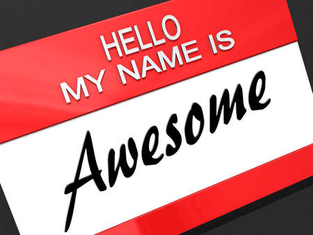 Hello My Name is Awesome on a name tag. Banco de Imagens