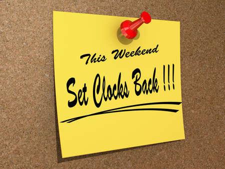テキストをこの週末設定クロック戻ってコルク板にピン留めメモ。