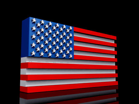 United States of America Flag on a shiny black background. Stock Photo - 17572085