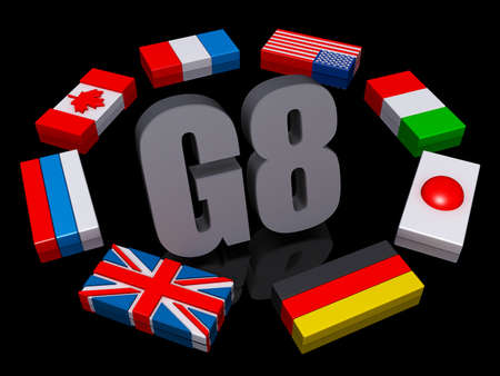 The text G8 encircled by the member flags. Stock Photo - 17572090