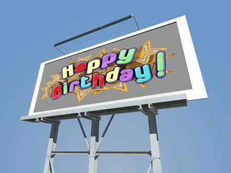 A Billboard with Happy Birthday. Stock Photo - 17710919