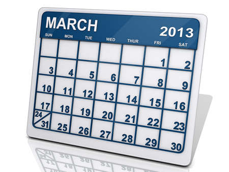 A calendar of February 2013 on a shiny background. Stock Photo