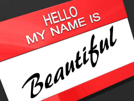 Hello My Name is Beautiful on a name tag.
