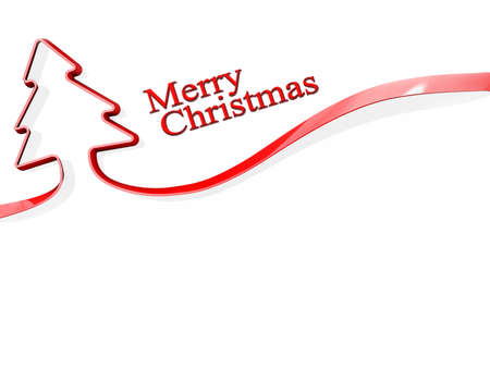 Red ribbon shaped like a Christmas Tree with Merry Christmas Stock Photo - 17710933