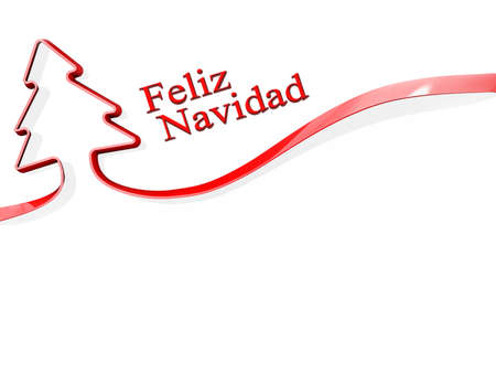 Red ribbon shaped like a Christmas Tree with Feliz Navidad Stock Photo