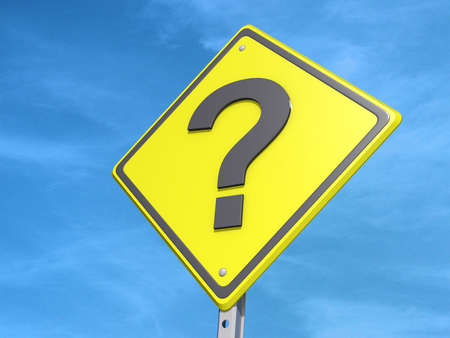 A yield road sign with a question mark on a blue sky Background