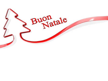 Red ribbon shaped like a Christmas Tree with Buon Natale Stock Photo